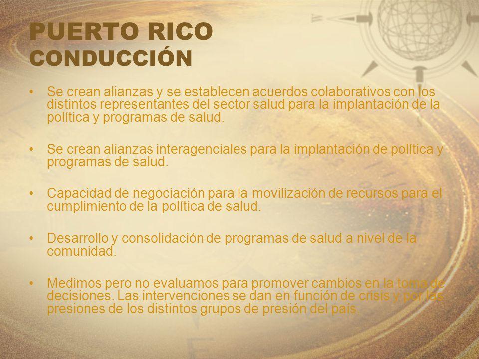 PUERTO RICO CONDUCCIÓN Se crean alianzas y se establecen acuerdos colaborativos con los distintos representantes del sector salud para la implantación
