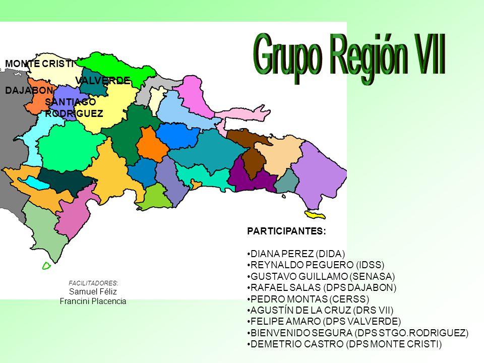 DAJABON MONTE CRISTI VALVERDE SANTIAGO RODRIGUEZ PARTICIPANTES: DIANA PEREZ (DIDA) REYNALDO PEGUERO (IDSS) GUSTAVO GUILLAMO (SENASA) RAFAEL SALAS (DPS DAJABON) PEDRO MONTAS (CERSS) AGUSTÍN DE LA CRUZ (DRS VII) FELIPE AMARO (DPS VALVERDE) BIENVENIDO SEGURA (DPS STGO.RODRIGUEZ) DEMETRIO CASTRO (DPS MONTE CRISTI) FACILITADORES: Samuel Féliz Francini Placencia