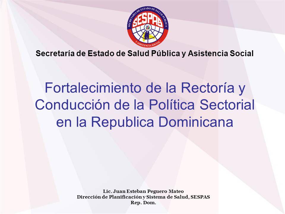 Fortalecimiento de la Rectoría y Conducción de la Política Sectorial en la Republica Dominicana Lic. Juan Esteban Peguero Mateo Dirección de Planifica