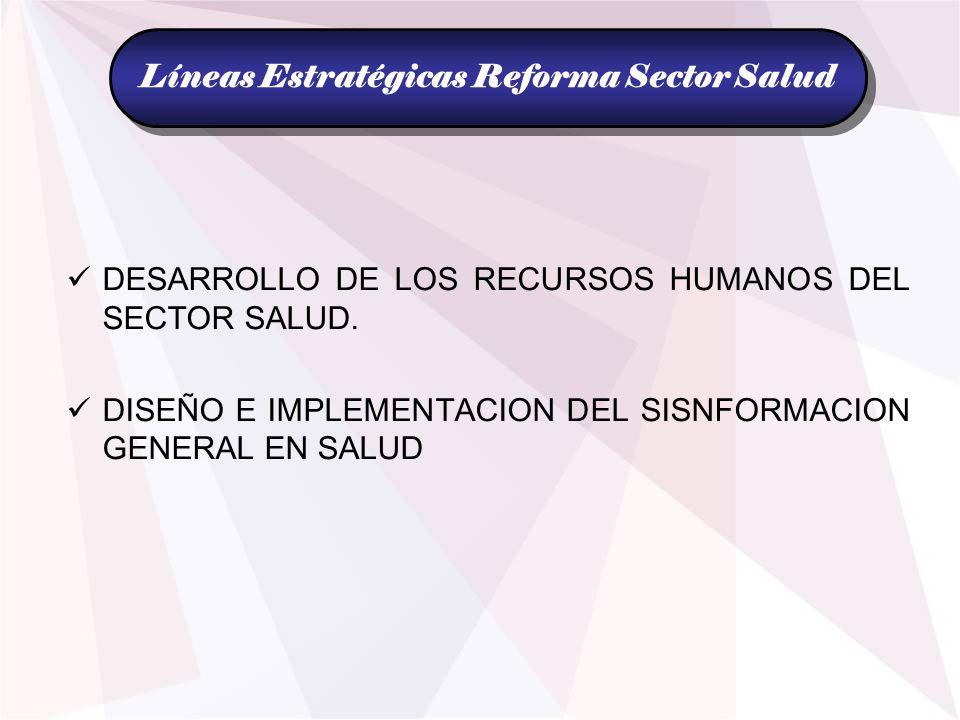 DESARROLLO DE LOS RECURSOS HUMANOS DEL SECTOR SALUD. DISEÑO E IMPLEMENTACION DEL SISNFORMACION GENERAL EN SALUD Líneas Estratégicas Reforma Sector Sal