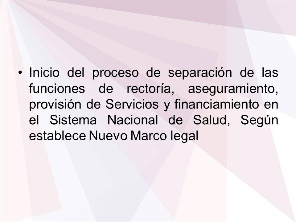 Inicio del proceso de separación de las funciones de rectoría, aseguramiento, provisión de Servicios y financiamiento en el Sistema Nacional de Salud,