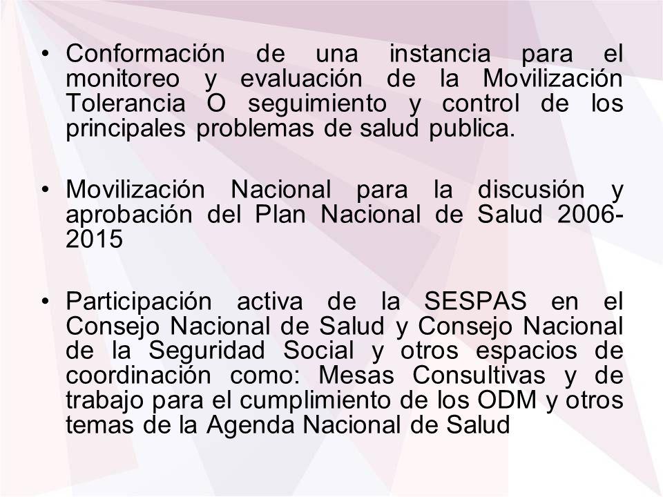 Conformación de una instancia para el monitoreo y evaluación de la Movilización Tolerancia O seguimiento y control de los principales problemas de sal