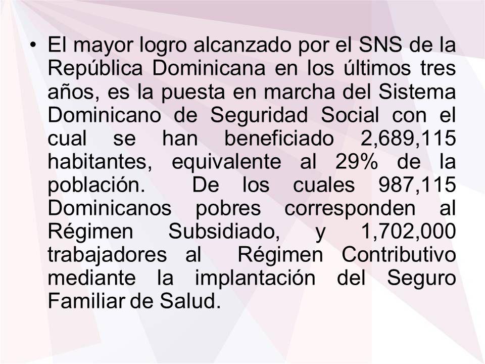 El mayor logro alcanzado por el SNS de la República Dominicana en los últimos tres años, es la puesta en marcha del Sistema Dominicano de Seguridad So