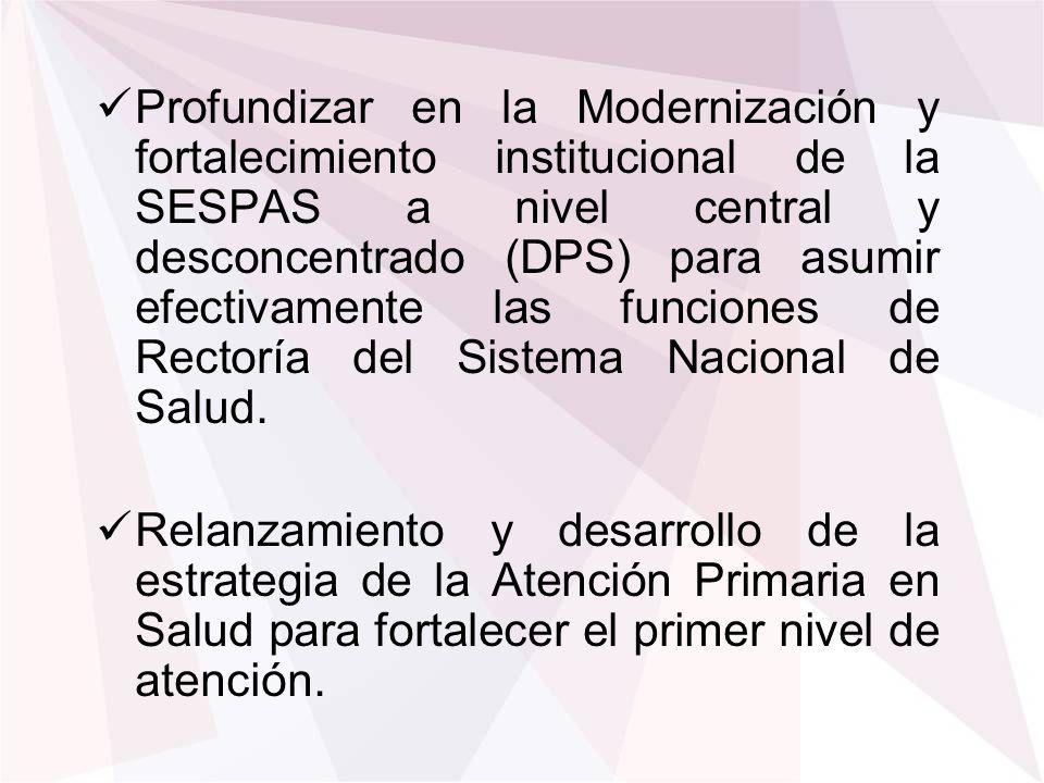 Profundizar en la Modernización y fortalecimiento institucional de la SESPAS a nivel central y desconcentrado (DPS) para asumir efectivamente las func
