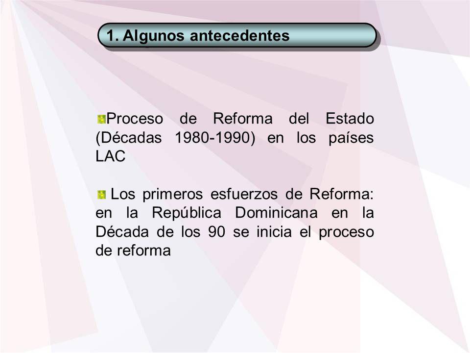 1. Algunos antecedentes Proceso de Reforma del Estado (Décadas 1980-1990) en los países LAC Los primeros esfuerzos de Reforma: en la República Dominic