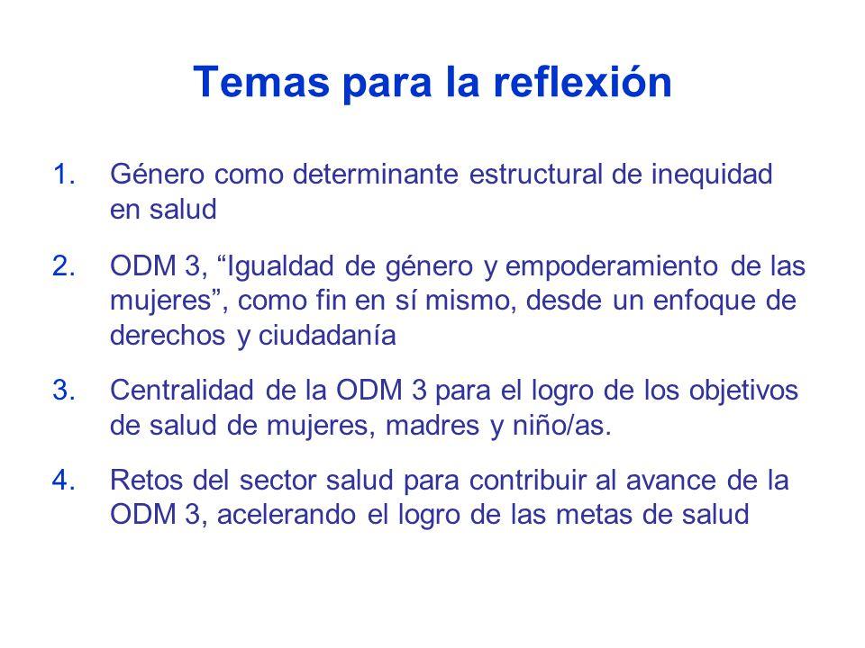 Temas para la reflexión 1.Género como determinante estructural de inequidad en salud 2.ODM 3, Igualdad de género y empoderamiento de las mujeres, como