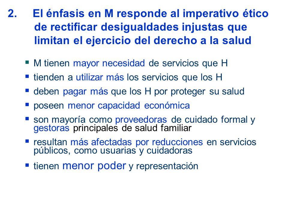 2. El énfasis en M responde al imperativo ético de rectificar desigualdades injustas que limitan el ejercicio del derecho a la salud M tienen mayor ne