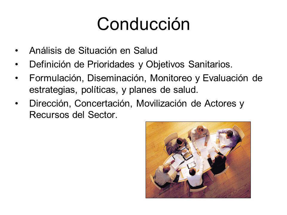 Conducción Análisis de Situación en Salud Definición de Prioridades y Objetivos Sanitarios. Formulación, Diseminación, Monitoreo y Evaluación de estra