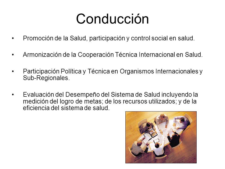 Conducción Promoción de la Salud, participación y control social en salud. Armonización de la Cooperación Técnica Internacional en Salud. Participació