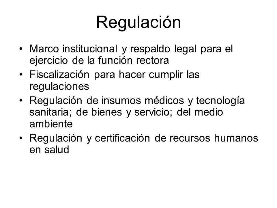 Regulación Marco institucional y respaldo legal para el ejercicio de la función rectora Fiscalización para hacer cumplir las regulaciones Regulación d