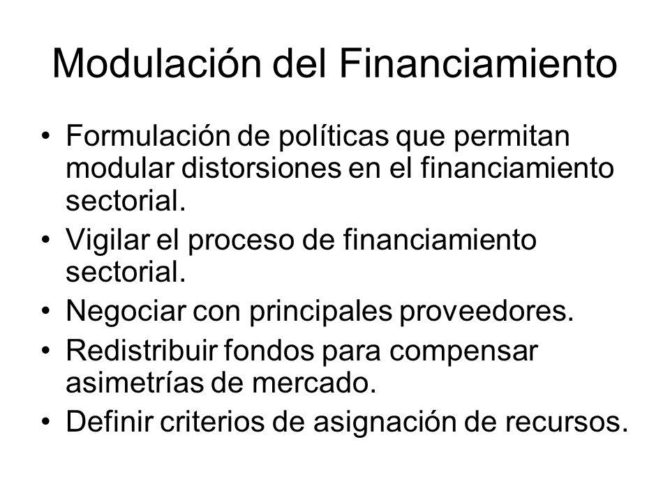 Modulación del Financiamiento Formulación de políticas que permitan modular distorsiones en el financiamiento sectorial. Vigilar el proceso de financi