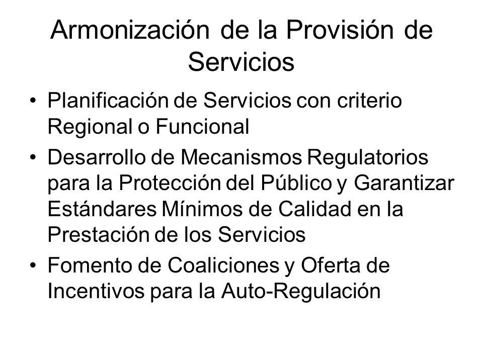 Armonización de la Provisión de Servicios Planificación de Servicios con criterio Regional o Funcional Desarrollo de Mecanismos Regulatorios para la P