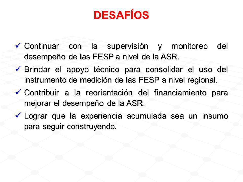 DESAFÍOS Continuar con la supervisión y monitoreo del desempeño de las FESP a nivel de la ASR.
