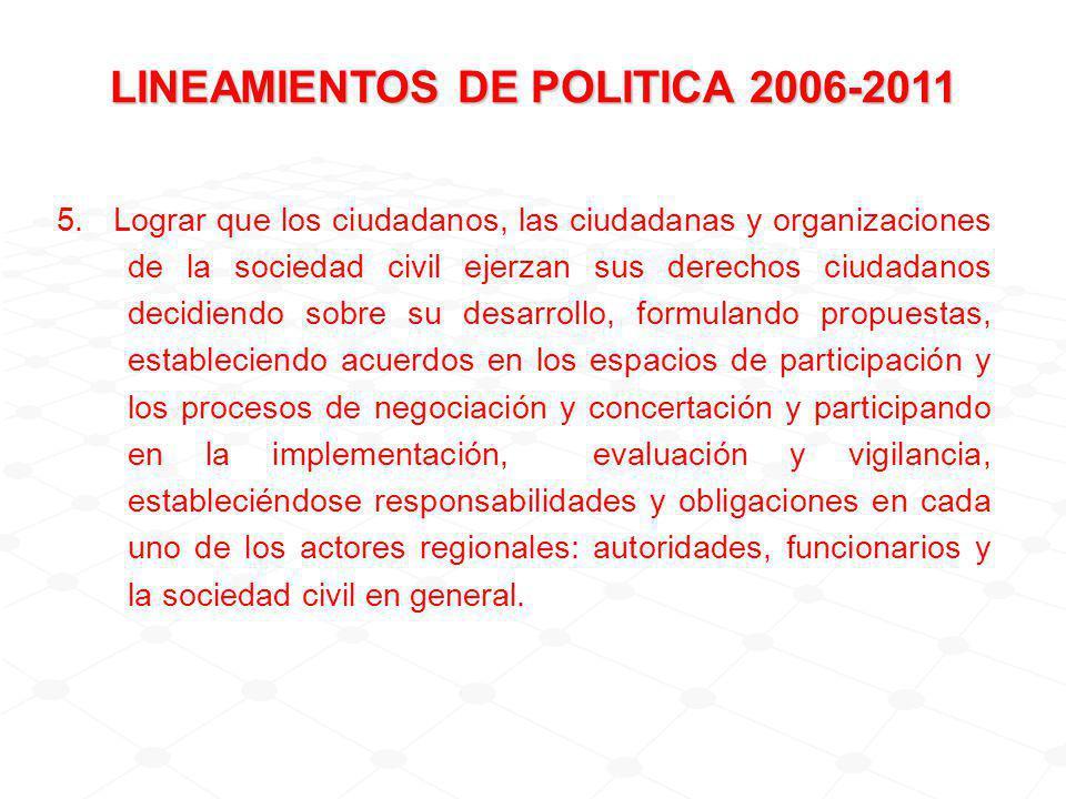 5. Lograr que los ciudadanos, las ciudadanas y organizaciones de la sociedad civil ejerzan sus derechos ciudadanos decidiendo sobre su desarrollo, for