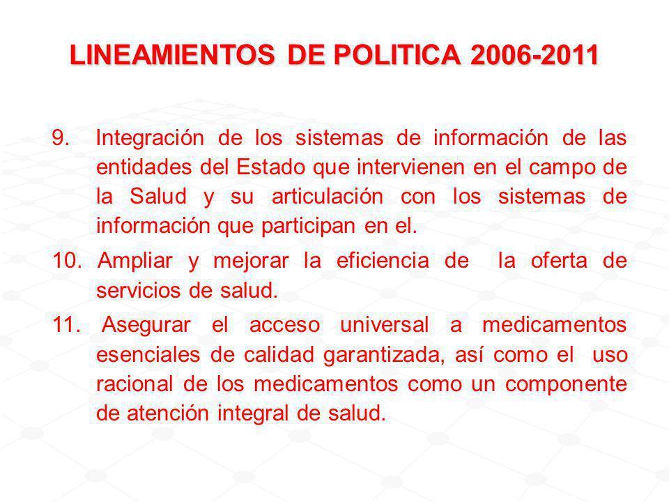 9. Integración de los sistemas de información de las entidades del Estado que intervienen en el campo de la Salud y su articulación con los sistemas d