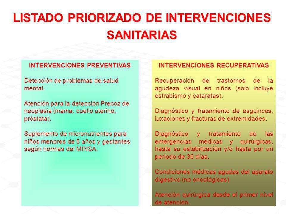 INTERVENCIONES PREVENTIVAS Detección de problemas de salud mental.