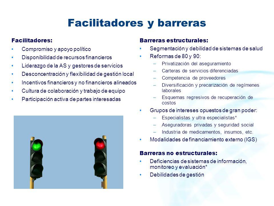 Facilitadores y barreras Facilitadores: Compromiso y apoyo político Disponibilidad de recursos financieros Liderazgo de la AS y gestores de servicios