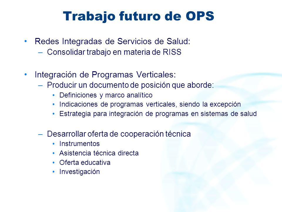 Trabajo futuro de OPS Redes Integradas de Servicios de Salud: –Consolidar trabajo en materia de RISS Integración de Programas Verticales: –Producir un