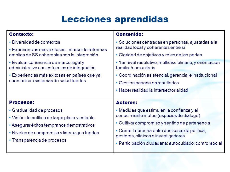 Lecciones aprendidas Contexto: Diversidad de contextos Experiencias más exitosas - marco de reformas amplias de SS coherentes con la integración Evalu