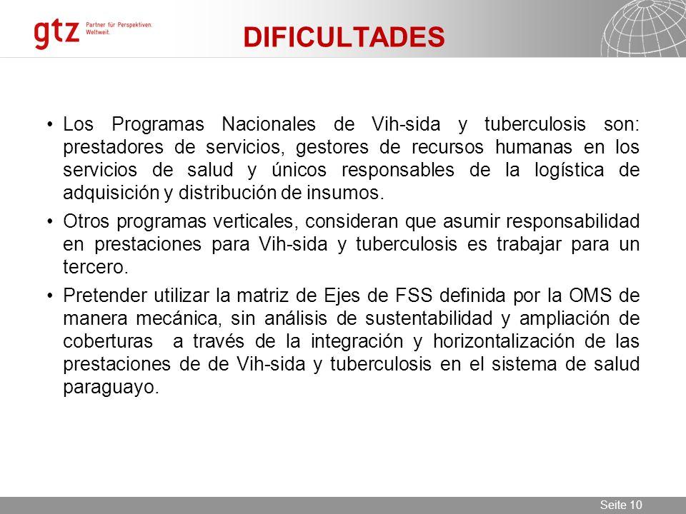 11.06.2014 Seite 10 Seite 10 DIFICULTADES Los Programas Nacionales de Vih-sida y tuberculosis son: prestadores de servicios, gestores de recursos huma
