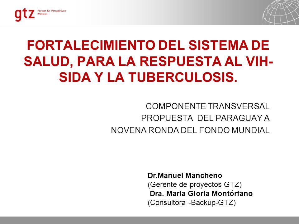 11.06.2014 Seite 2 FORTALECIMIENTO DEL SISTEMA DE SALUD, PARA LA RESPUESTA AL VIH- SIDA Y LA TUBERCULOSIS. COMPONENTE TRANSVERSAL PROPUESTA DEL PARAGU