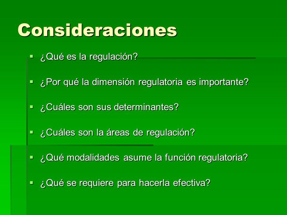 Consideraciones ¿Qué es la regulación? ¿Qué es la regulación? ¿Por qué la dimensión regulatoria es importante? ¿Por qué la dimensión regulatoria es im