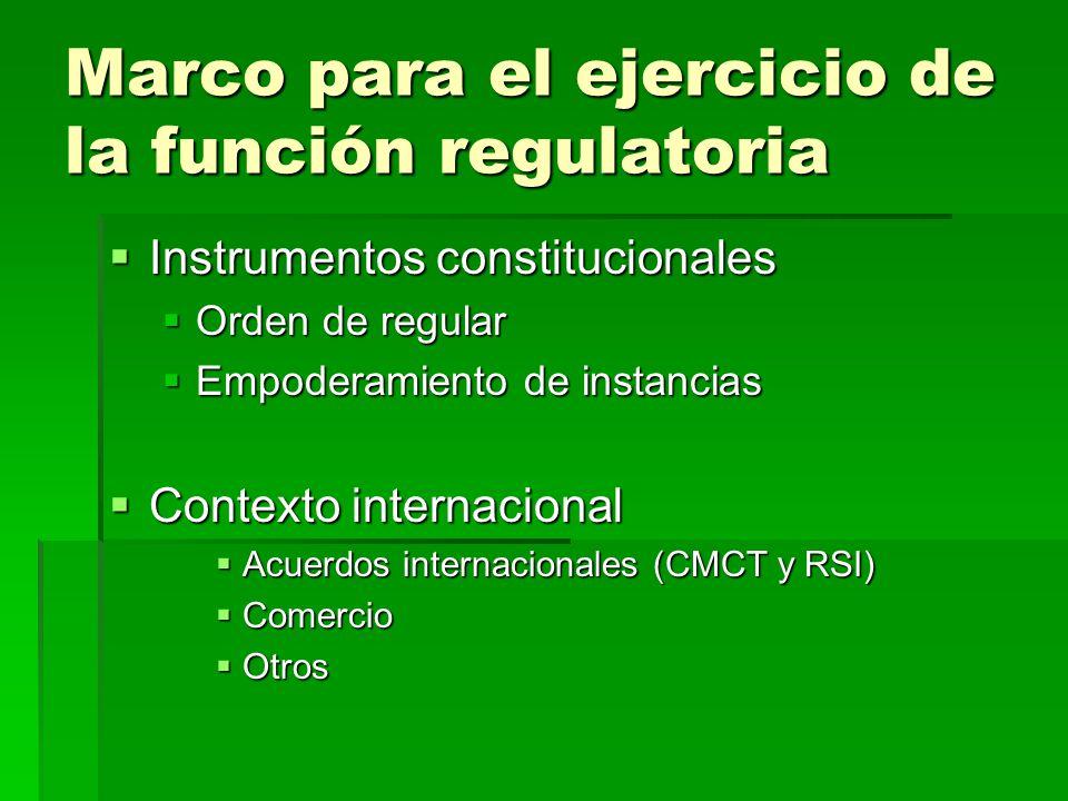 Marco para el ejercicio de la función regulatoria Instrumentos constitucionales Instrumentos constitucionales Orden de regular Orden de regular Empode