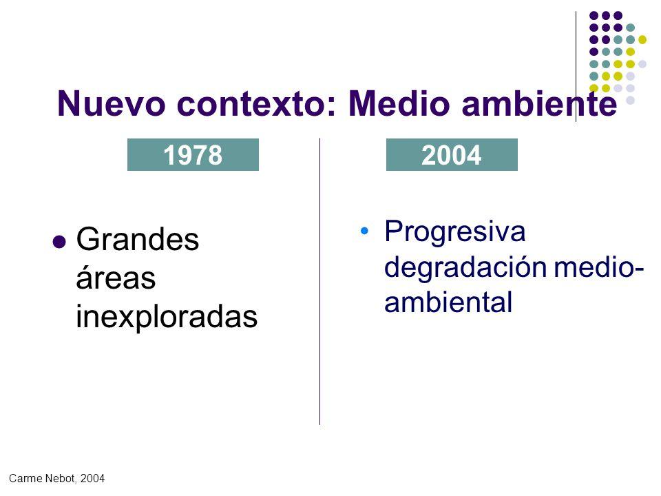 Nuevo contexto: Medio ambiente Grandes áreas inexploradas 19782004 Progresiva degradación medio- ambiental Carme Nebot, 2004