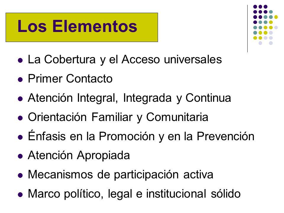 Los Elementos La Cobertura y el Acceso universales Primer Contacto Atención Integral, Integrada y Continua Orientación Familiar y Comunitaria Énfasis en la Promoción y en la Prevención Atención Apropiada Mecanismos de participación activa Marco político, legal e institucional sólido