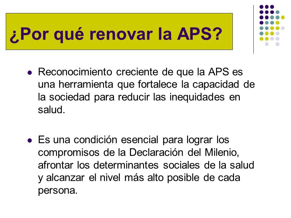 ¿Por qué renovar la APS? Reconocimiento creciente de que la APS es una herramienta que fortalece la capacidad de la sociedad para reducir las inequida