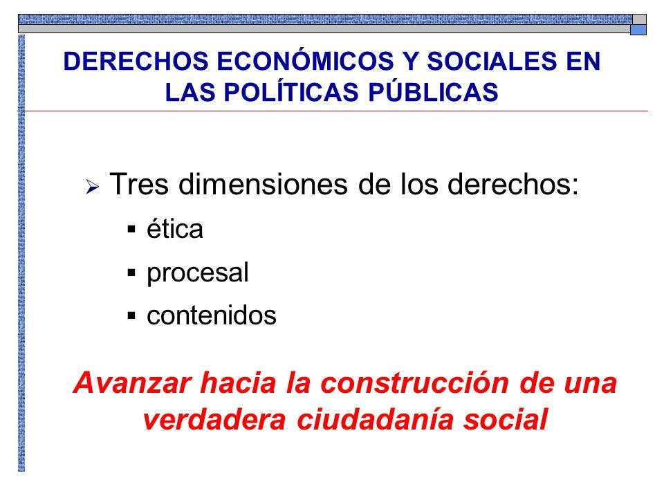 Tres dimensiones de los derechos: ética procesal contenidos DERECHOS ECONÓMICOS Y SOCIALES EN LAS POLÍTICAS PÚBLICAS Avanzar hacia la construcción de