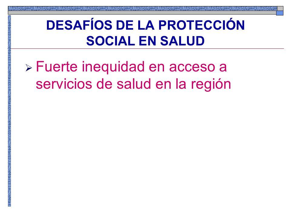 DESAFÍOS DE LA PROTECCIÓN SOCIAL EN SALUD Fuerte inequidad en acceso a servicios de salud en la región