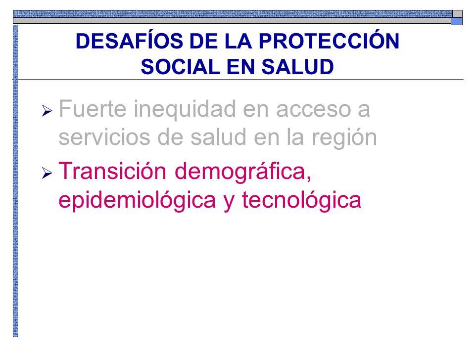 DESAFÍOS DE LA PROTECCIÓN SOCIAL EN SALUD Fuerte inequidad en acceso a servicios de salud en la región Transición demográfica, epidemiológica y tecnológica