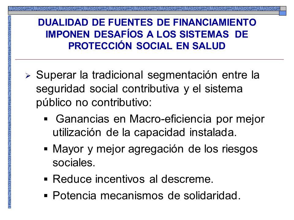 DUALIDAD DE FUENTES DE FINANCIAMIENTO IMPONEN DESAFÍOS A LOS SISTEMAS DE PROTECCIÓN SOCIAL EN SALUD Superar la tradicional segmentación entre la segur