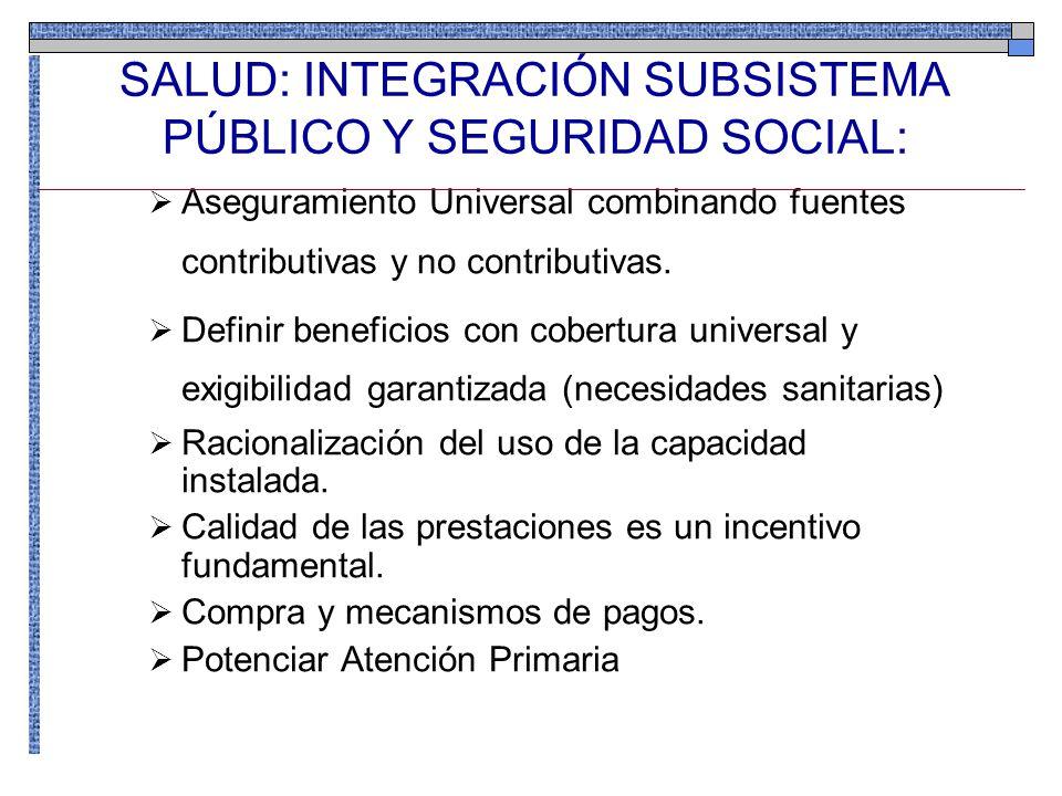 SALUD: INTEGRACIÓN SUBSISTEMA PÚBLICO Y SEGURIDAD SOCIAL: Aseguramiento Universal combinando fuentes contributivas y no contributivas. Definir benefic