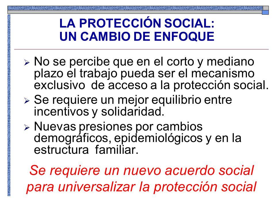LA PROTECCIÓN SOCIAL: UN CAMBIO DE ENFOQUE No se percibe que en el corto y mediano plazo el trabajo pueda ser el mecanismo exclusivo de acceso a la protección social.