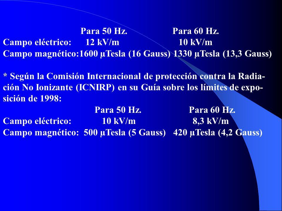 * Según la Comisión Internacional de protección contra la Radiación No Ionizante (ICNIRP) en su Guía sobre los límites de exposición de 1998: Para 50 Hz Para 60 Hz Campo eléctrico: 5 kV/m 4,2 kV/m Campo magnético: 100 µTesla (1 Gauss) 84 µTesla (0,84 Gauss) b) Para trabajadores: * Según el Consejo Nacional de Protección Radiológica del Reino Unido (NRPB-UK) en sus Documentos al respecto en1993: