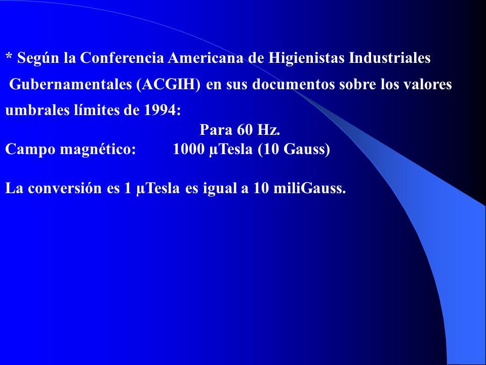Para 50 Hz. Para 60 Hz. Campo eléctrico: 12 kV/m 10 kV/m Campo magnético:1600 µTesla (16 Gauss) 1330 µTesla (13,3 Gauss) * Según la Comisión Internaci