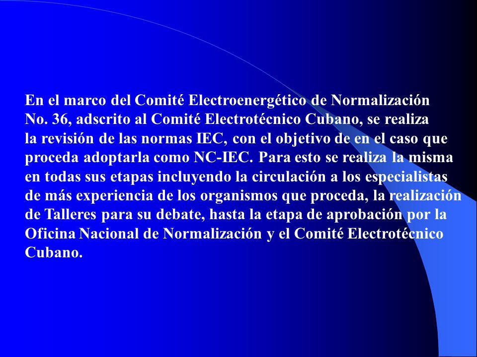 ITU (Unión internacional de telecomunicaciones), para el área de telecomunicaciones, IEC (Comité Electrotécnico Internacional) para el área eléctrica, e ISO (Organización Internacional de Normalización) para las áreas restantes.
