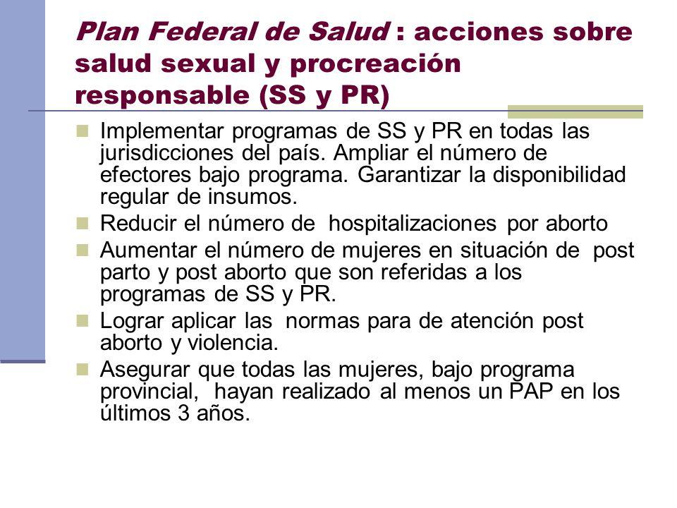 Plan Federal de Salud : acciones sobre salud sexual y procreación responsable (SS y PR) Implementar programas de SS y PR en todas las jurisdicciones d