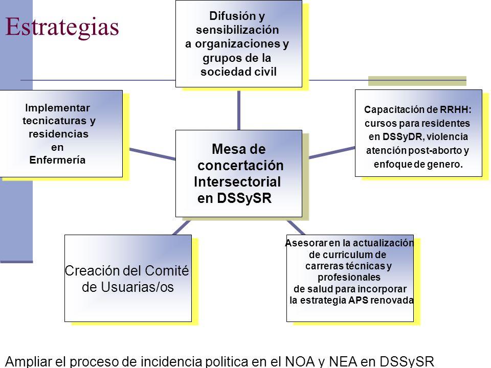 Estrategias Ampliar el proceso de incidencia politica en el NOA y NEA en DSSySR Mesa de concertación Intersectorial en DSSySR Difusión y sensibilizaci