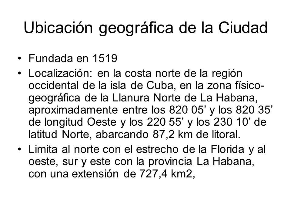 Ubicación geográfica de la Ciudad Fundada en 1519 Localización: en la costa norte de la región occidental de la isla de Cuba, en la zona físico- geogr