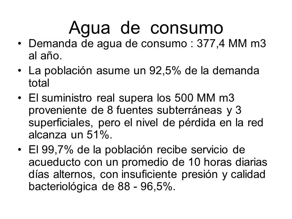 Agua de consumo Demanda de agua de consumo : 377,4 MM m3 al año. La población asume un 92,5% de la demanda total El suministro real supera los 500 MM