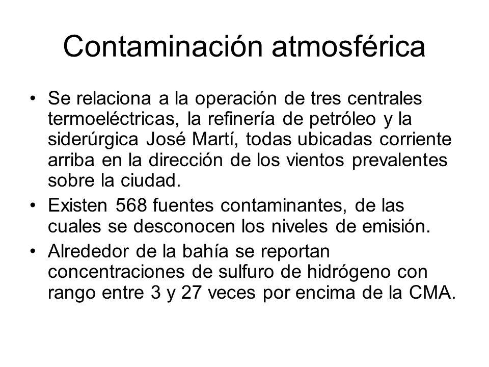 Contaminación atmosférica Se relaciona a la operación de tres centrales termoeléctricas, la refinería de petróleo y la siderúrgica José Martí, todas u
