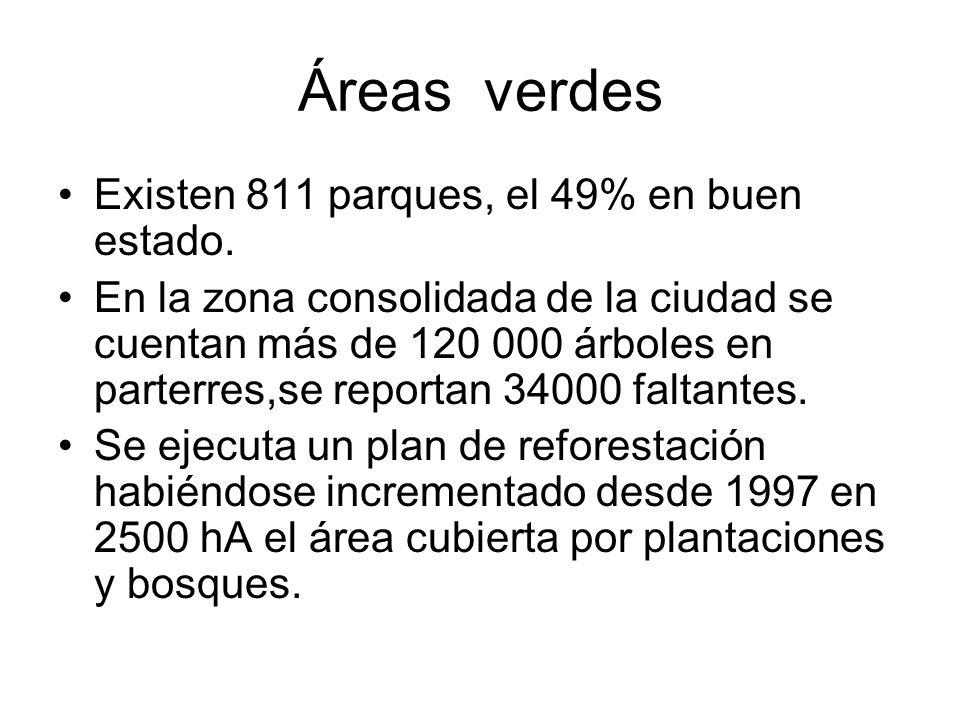 Áreas verdes Existen 811 parques, el 49% en buen estado. En la zona consolidada de la ciudad se cuentan más de 120 000 árboles en parterres,se reporta