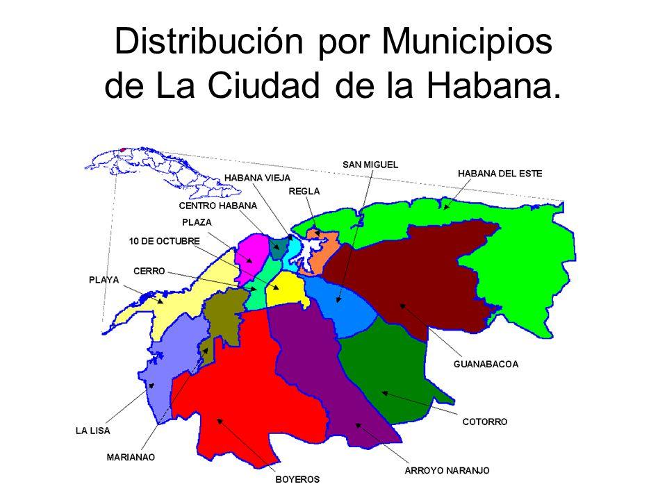 Letrinas por viviendas precarias en barrios y focos insalubres de la Ciudad de La Habana Municipiostotal % Total letrinas % Playa11.74.6 Habana Vieja1.13.2 Regla5.62.1 Habana del Este0.72.5 San Miguel8.313.4 10 de Octubre0.3- Cerro4.63.3 Marianao21.410.4 La Lisa10.47.0 Boyeros7.519.7 A.