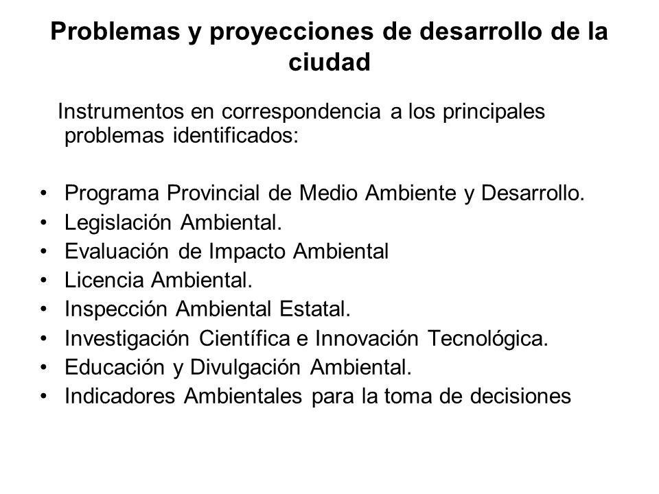 Problemas y proyecciones de desarrollo de la ciudad Instrumentos en correspondencia a los principales problemas identificados: Programa Provincial de