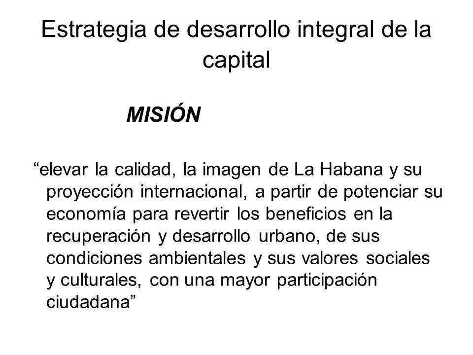 Estrategia de desarrollo integral de la capital elevar la calidad, la imagen de La Habana y su proyección internacional, a partir de potenciar su econ
