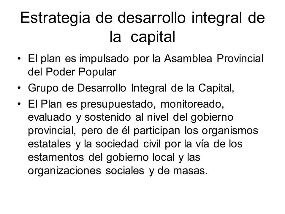 Estrategia de desarrollo integral de la capital El plan es impulsado por la Asamblea Provincial del Poder Popular Grupo de Desarrollo Integral de la C