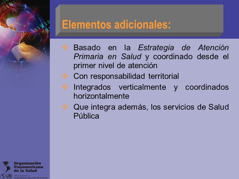 Elementos adicionales: Basado en la Estrategia de Atención Primaria en Salud y coordinado desde el primer nivel de atención Con responsabilidad territ